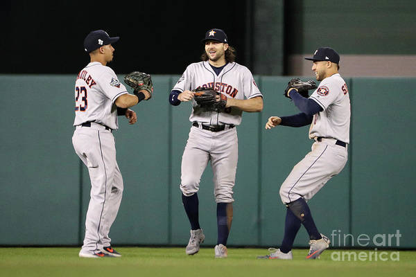 American League Baseball Art Print featuring the photograph Jake Marisnick, Michael Brantley, And George Springer by Patrick Smith