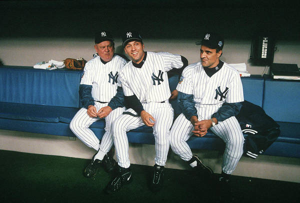 American League Baseball Art Print featuring the photograph Joe Torre, Derek Jeter, And Don Zimmer by Rich Pilling