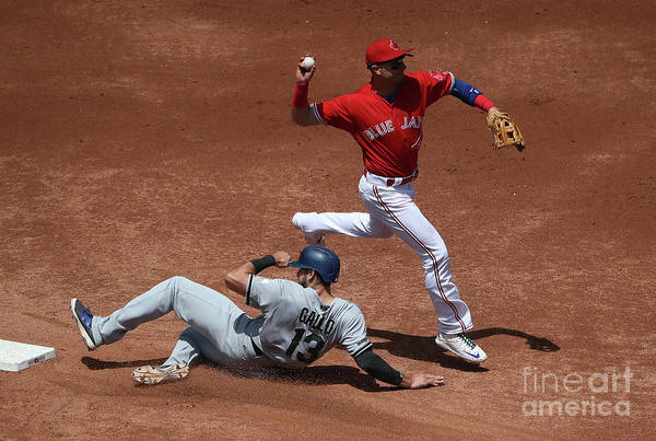 Double Play Art Print featuring the photograph Joey Gallo And Troy Tulowitzki by Tom Szczerbowski