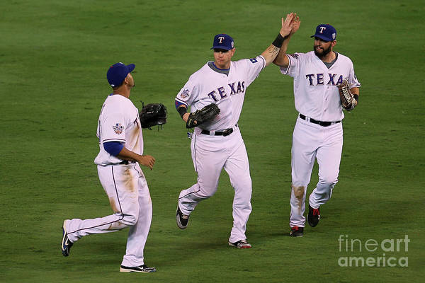 American League Baseball Art Print featuring the photograph Josh Hamilton, Jeff Francoeur, And Nelson Cruz by Stephen Dunn