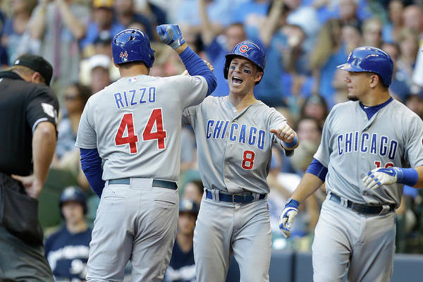 Three Quarter Length Art Print featuring the photograph Kyle Schwarber, Anthony Rizzo, And Chris Coghlan by Mike Mcginnis