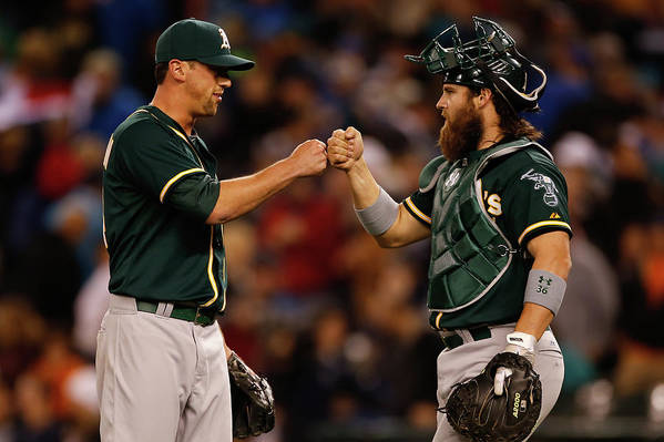 American League Baseball Art Print featuring the photograph Luke Gregerson And Derek Norris by Otto Greule Jr