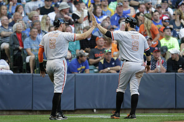 People Art Print featuring the photograph Matt Duffy, Hunter Pence, And Brandon Belt by Mike Mcginnis