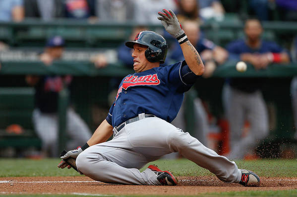 American League Baseball Art Print featuring the photograph Michael Brantley And Asdrubal Cabrera by Otto Greule Jr
