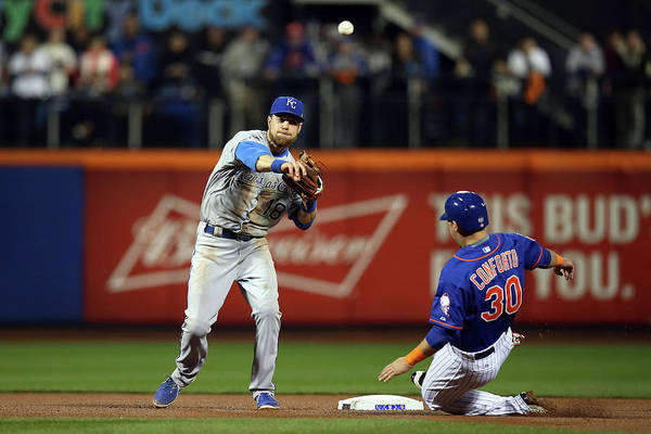Playoffs Art Print featuring the photograph Michael Conforto And Ben Zobrist by Brad Mangin