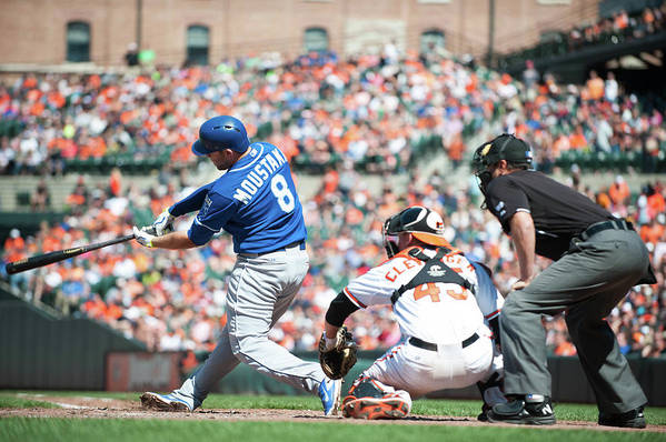 American League Baseball Art Print featuring the photograph Mike Moustakas by Rob Tringali
