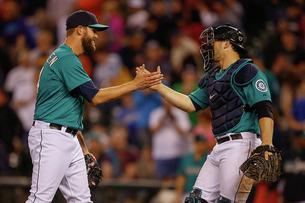 Baseball Catcher Art Print featuring the photograph Mike Zunino And Tom Wilhelmsen by Otto Greule Jr