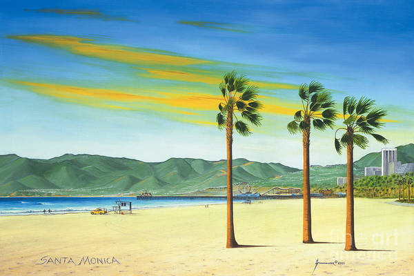 Santa Monica Art Print featuring the painting Santa Monica by Jerome Stumphauzer