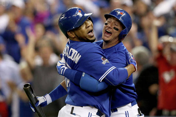 People Art Print featuring the photograph Troy Tulowitzki And Edwin Encarnacion by Vaughn Ridley