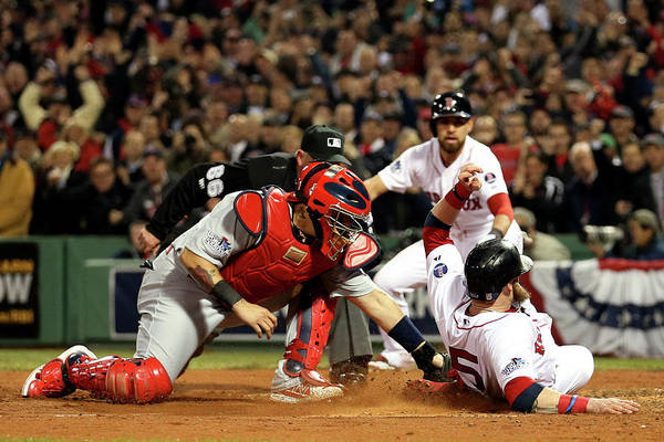 Playoffs Art Print featuring the photograph Yadier Molina And Jonny Gomes by Rob Carr