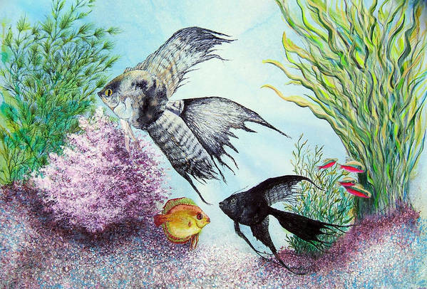 Fish Water Art Print featuring the print Angel Fish by JoLyn Holladay
