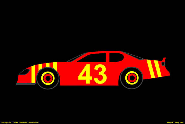 Nascar Art Print featuring the digital art Nascar by Asbjorn Lonvig