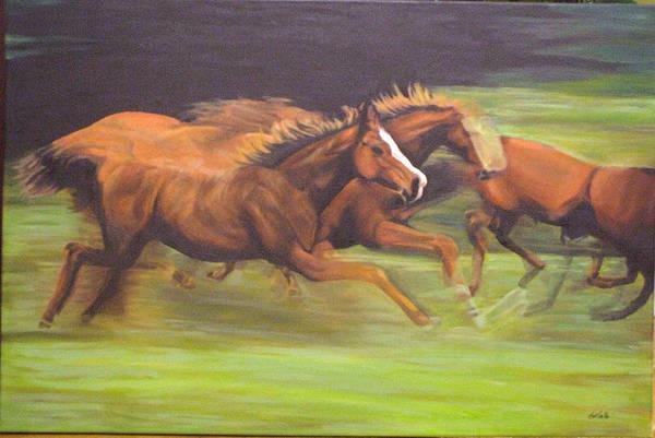 Horse Art Print featuring the painting Racing Horses by Srilata Ranganathan