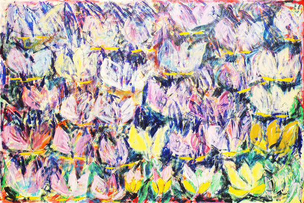Abstract Flowers Tulips White Pink Yellow Green Blue Art Print featuring the painting Wild Tulips by Joan De Bot