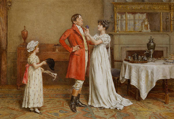 Interior; Male; Female; Wish; Wishing; Luck; Child; Girl; 19th; 20th; Pinning; Posy; Sentimental; Gesture; Huntsman; Red Coat; Cap; Hat; Whip; Hunting; Foxhunting; Breakfast; Silver; Husband; Wife Art Print featuring the painting I Wish You Luck by George Goodwin Kilburne