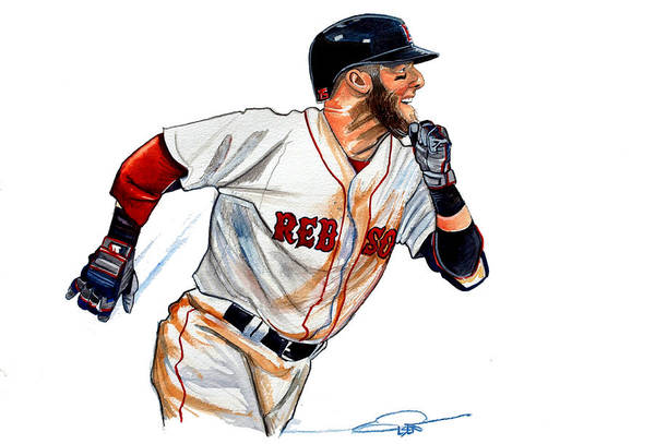 Dustin Pedroia Art Print featuring the painting Dustin Pedroia by Dave Olsen