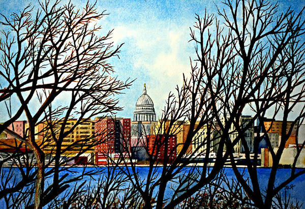 Wisconsin Art Print featuring the painting Madison Treed by Thomas Kuchenbecker