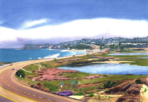 San Elijo Art Print featuring the painting San Elijo And Hwy 101 by Mary Helmreich