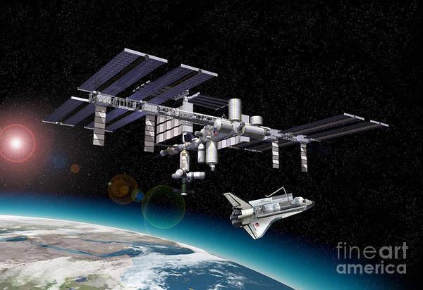 Three Dimensional Art Print featuring the digital art Space Station In Orbit Around Earth by Leonello Calvetti