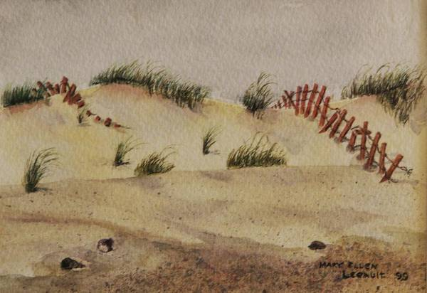 Sand Art Print featuring the painting Dunes by Mary Ellen Mueller Legault