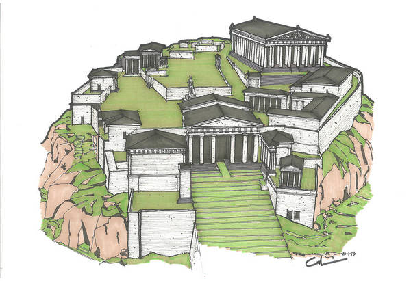 Sketch Art Print featuring the drawing Acropolis Of Athens Restored by Calvin Durham