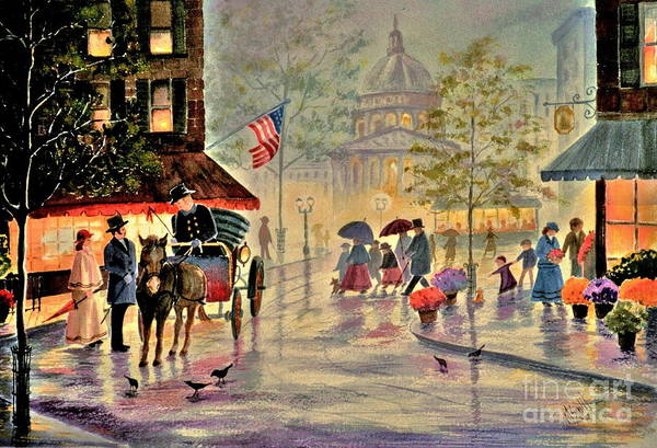 City Scene Art Print featuring the painting After The Rain by Marilyn Smith