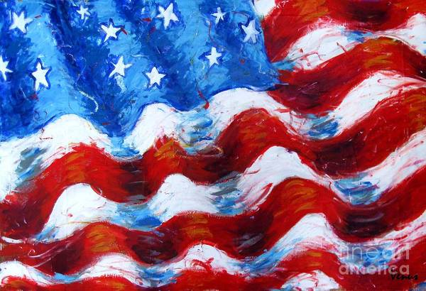 American Flag Print featuring the painting American Flag by Venus