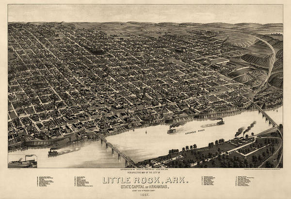 Little Rock Art Print featuring the drawing Antique Map Of Little Rock Arkansas By H. Wellge - 1887 by Blue Monocle