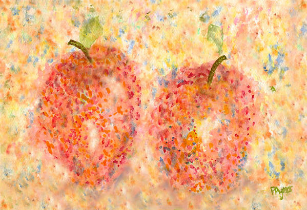 Watercolor Art Print featuring the painting Apple Twins by Paula Ayers