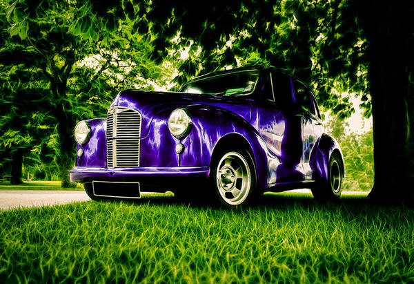 British Hot Rod Print featuring the photograph Austin Hot Rod by motography aka Phil Clark