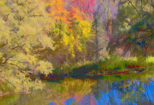 Autumn Print featuring the photograph Autumn Beside The Pond by Don Schwartz