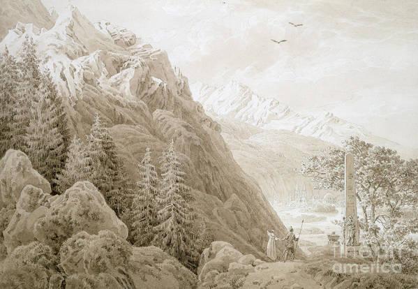 Landscape Art Print featuring the painting Autumn by Caspar David Friedrich