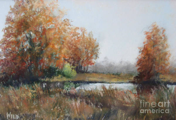 Autumn Landscape Focusing On The Warm Golds And A Touch Of Green. Art Print featuring the painting Autumn Study 1 by Paula Wild