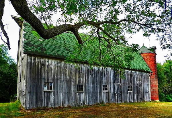 Old Barns Art Print featuring the photograph Barn With Brick Silo by Julie Dant
