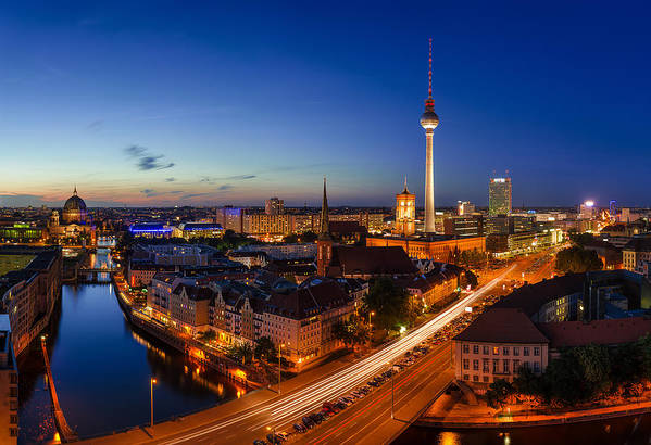 Berlin Print featuring the pyrography Berlin Skyline Panorama by Jean Claude Castor