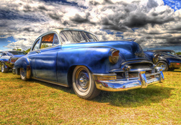 Fifties Automobile Art Print featuring the photograph Blue Chevy Deluxe - Hdr by Phil 'motography' Clark
