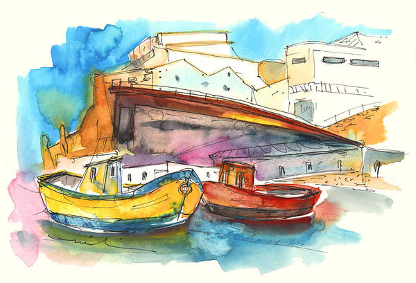 Portugal Art Art Print featuring the painting Boats In Ericeira In Portugal by Miki De Goodaboom