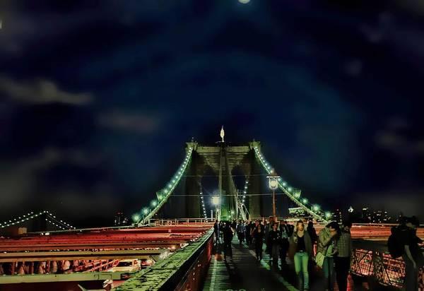 Brooklym Bridge Art Print featuring the photograph Bridging by Tony Ambrosio