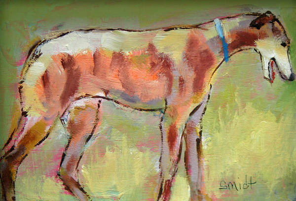 Dog Print featuring the painting Brindle Greyhound by Carol Jo Smidt