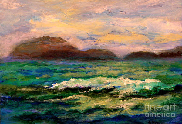 Fine Art Art Print featuring the painting Islands And Wave by Julianne Felton