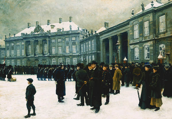 Soldier Art Print featuring the painting Changing Of The Guard At Amalienborg Palace by Paul Fischer