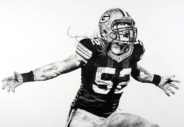 Nfl Art Print featuring the drawing Clay Matthews by Jake Stapleton