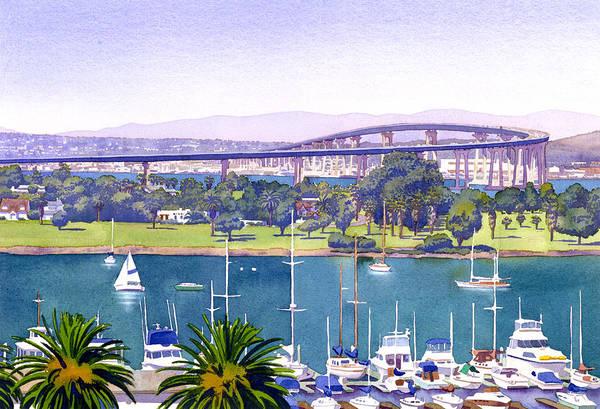 San Diego Art Print featuring the painting Coronado Bay Bridge by Mary Helmreich