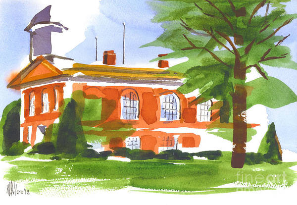Courthouse On A Summers Evening Art Print featuring the painting Courthouse On A Summers Evening by Kip DeVore