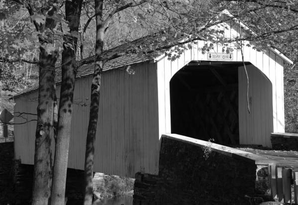 Black & White Art Print featuring the photograph Covered Bridge by Joseph Perno