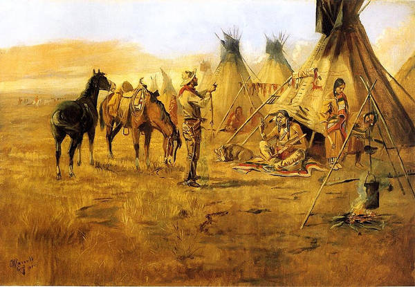Cowboy Bargaining For The Indian Girl Print featuring the digital art Cowboy Bargaining For The Indian Girl by Charles Russell