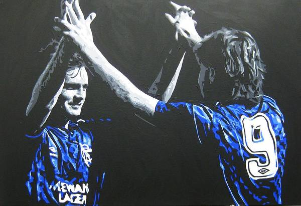 Davie Cooper Art Print featuring the painting Davie Cooper - Ally Mccoist - Glasgow Rangers Fc by Geo Thomson