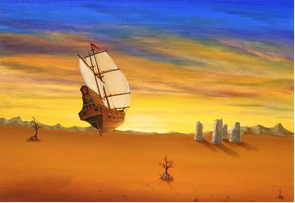 Surrealism Surreal Ship Boat Voc Sunset Sunrise Stonehenge Desert Canvas Prints Tree Stone Mountains Sky Clouds Colourfull I Phone Covers Surrealism Transportation Fantasy Landscapes Art Print featuring the painting Direction by Michel Sehstedt