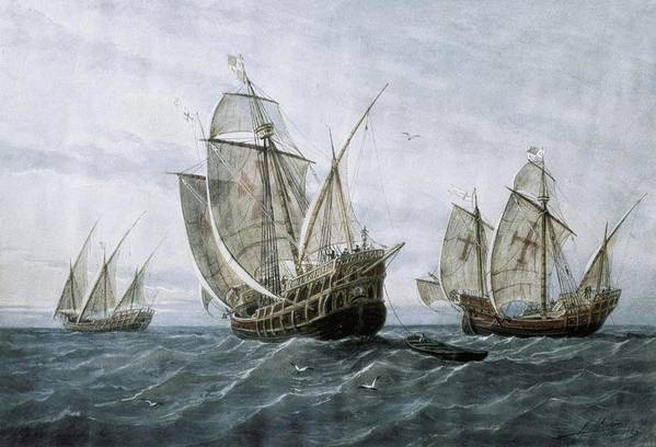 Horizontal Art Print featuring the photograph Discovery Of America 1492. The Caravels by Everett