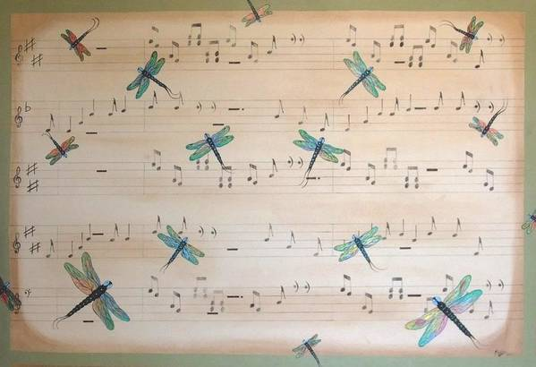 Dragonfly Art Print featuring the painting Dragonfly Symphony by Cindy Micklos